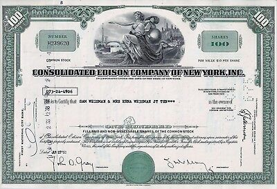Consolidated Edison Company of New York 1968  (100 Shares) alte Version