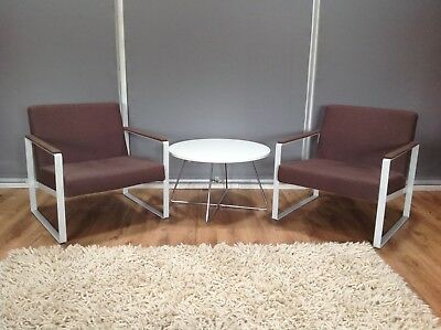 Pair Of Mid Century Style Open Framed Metal Armchairs