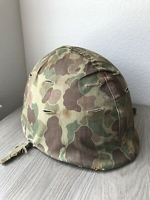Original WWII Korea 1950s USMC M1 Helmet Set W/ Frogskin Cover Fixed Bale