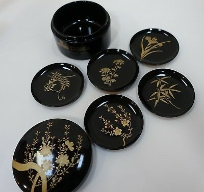 SR4 JAPANESE 5 LACQUER COASTERS IN BOX, from Sahara Las Vegas - vintage