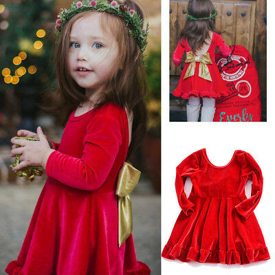 Party Toddler Baby Kids Girl Princess Dresses Christmas Xmas Bowknot Clothes UK