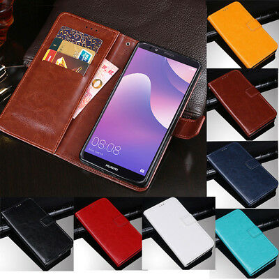 For Huawei Y3 Y5 Y6 Y7 Prime 2018 Magnetic Slim PU Leather Flip Stand Case Cover