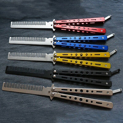 Camping Practice Butterfly Knife Comb Stainless Steel Balisong Training Tool