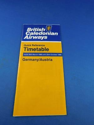 Quick Reference Timetable British Caledonian Airway Airline Germany Austria 1986