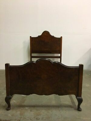 Antique Walnut And Oak Edwardian Single Bed Classic Stylish Chic