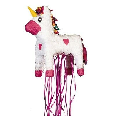 Unicorn Rainbow Pink Hearts Pull String Pinata Party Game Decoration