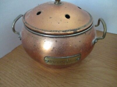 Vintage Antique Plated COPPER POTPOURRI POT Container w/ BRASS HANDLES