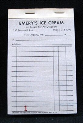 emerys ice cream parlor store sales receipt book new albany ind old
