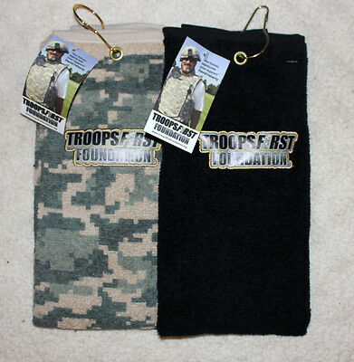 TROOPSFIRST Golf Towels Black and camouflage, Set of 2 towels