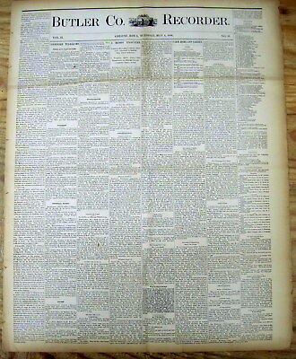1886 Iowa newspaper w coverage of very early spotting of a UFO / Flying Saucer