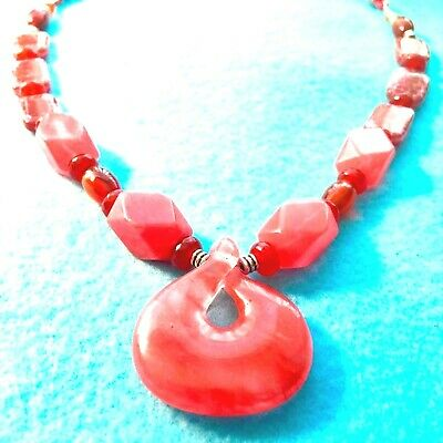 #442 Red Cherry Facet Quartz Fire Agate Multi-Gems +Leather Necklace Native Made