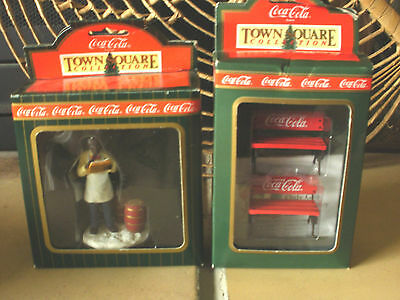 COCA-COLA TOWN SQUARE COLLECTION~Lot of 2~SHOPKEEPER~PARK BENCHES~NIB