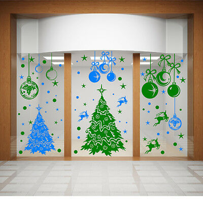 Christmas Window Stickers  Xmas Tree Stickers Cristmas Baubles Wall Stickers N86