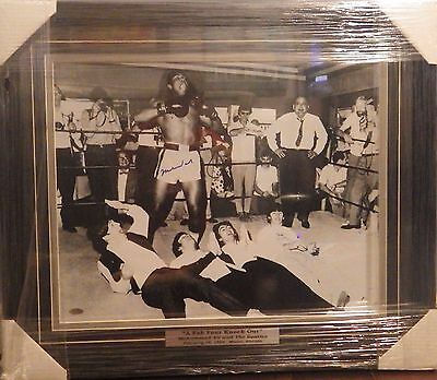 """Muhammad Ali Signed/Framed 1964 B/W 16x20"""" Photo Beatles Knock Out Steiner COA"""