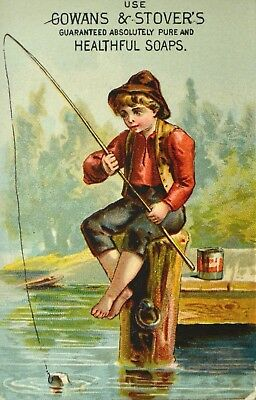 Gowans & Stovers Soap Victorian Trade Card Boy Fishing Off Dock