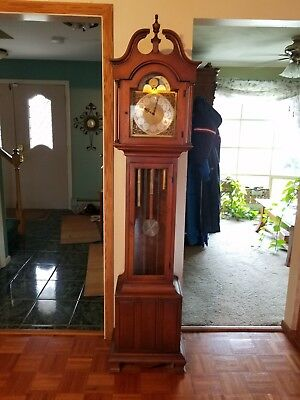 Vtg HOWARD MILLER Weight Driven BARWICK GRANDFATHER Moving Moon CLOCK #4875