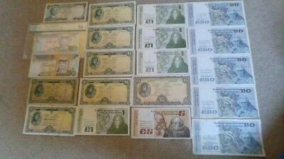 Large lot of Irish/Jordanian Banknotes (can be sold separately). Free postage.
