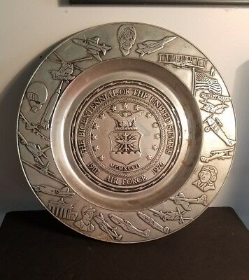 1970's Vintage US Air Force Heavy Pewter Plate