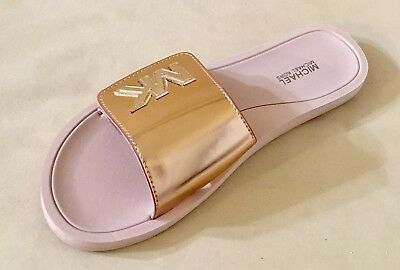 909aa1747647 Women MK Slides Sandal Michael Kors Mirror Metallic Adjustable Closure Rose  Gold