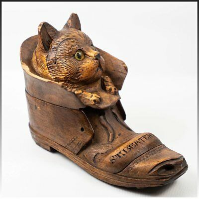 Antique Hand Carved Black Forest Cat, Glass Eyes, Inkwell in a Shoe or Boot