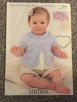 "Sirdar Supersoft Aran Knitting Pattern 1846 Girls Baby Cardigan 16""-26"" (2611)"