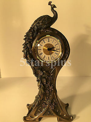 Art Nouveau Peacock Clock fingurin statue Sculpture Unique Ship Immediately