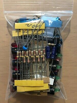 Mixed lot Grab Bag Electronic Components Caps Resistors IC Switch LED NO PULLS!