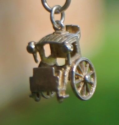 "Rare Vintage Sterling Silver English Hansom Cab ""Rolling Wheels"" Free Shipping"