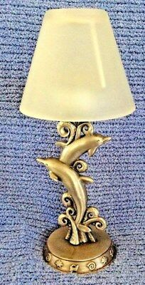 SALE $10 Sun Pewter Dolphin/Porpoise Tealight Votive Candle Holder Glass Shade