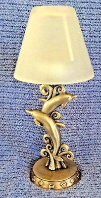 Sun Pewter Leaping Dolphin/Porpoise Tealight Votive Candle Holder Glass Shade