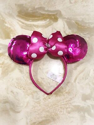 Minnie Mouse Pink Magenta Sequin Hot Disney World Parks Ears Headband Costume