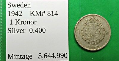 World Foreign Old Sweden Silver 1942 Coin 25 Kronor KM# 814 !!