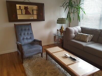 Mid Century Modern Burris Italian Recliner Chair Vintage Baby Blue WOW