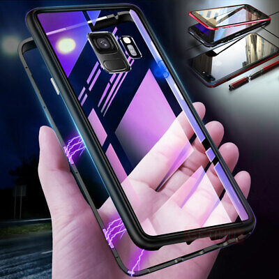 For Samsung Galaxy Note 9 Note 8 S9 S8 7 Magnetic Absorption Tempered Glass Case