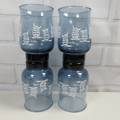 Vintage Libbey M. Dia Owl & Moon Blue Tulip Shaped Glass Tumblers Set of 4
