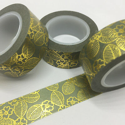 Washi Tape Gold Foil Floral On Pale Olive 17Mm X 10Mtr Plan Wrap Mail Art Craft