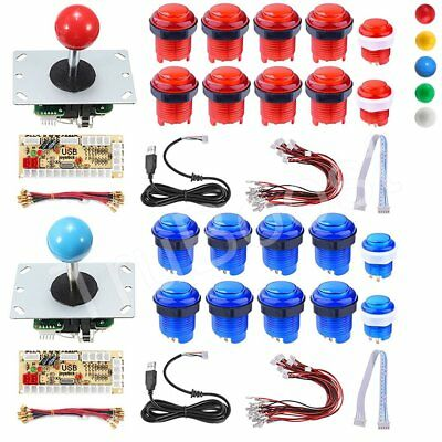 2 Players DIY Arcade Joystick Kit PC Game USB Controller LED Push Button Cables