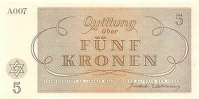 Czech.  5  kronen  1.1.1943  Concentration Camp  WWII  Uncirculated Banknote Arc