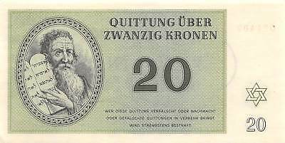 Czech. 20  kronen  1.1.1943  Concentration Camp  WWII  Uncirculated Banknote Arc