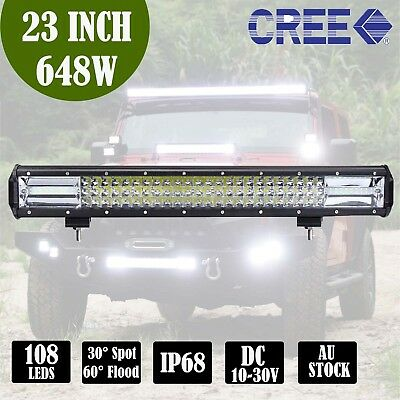 23 inch 648W CREE LED Light Bar 7D Len Spot Flood Offroad 4x4 Work Driving Bars