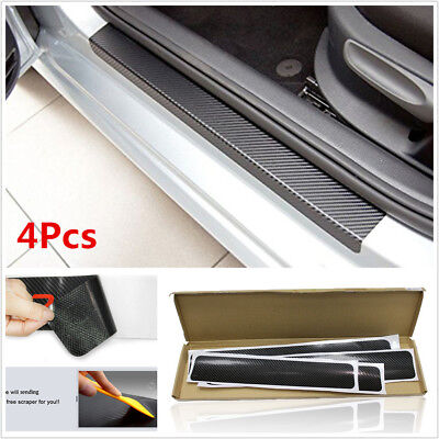4x Car Door Sill Scuff Carbon Fiber Stickers Welcome Pedal Protect Accessories F