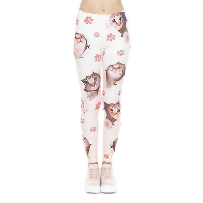f9088c31ac4cb Lady Leggings Hole Cats Ombre 3D Graphic Full Printed Casual Yoga Wear Pants