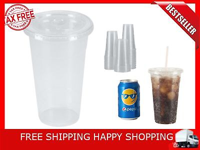 100 Sets 24 Oz Plastic CRYSTAL CLEAR Cups With Flat Lids For Cold Iced Smoothie