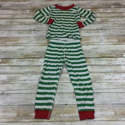 Hanna Andersson Size 100Cm (Us 4) - Green & White Red Striped Pajama Set