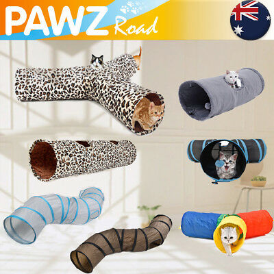 Pet Cat Play Toy 3 Way S Shape Gym Interactive Collapsible Tunnel Rabbit Tube