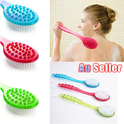 Soft Fur Brush Long Handle Body Bath Back Skin Cleaning Tool Scrubber Massager