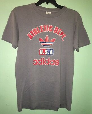 huge discount 53284 184a2 Vintage Adidas T Shirt 80s Tee Men s Large USA Multi Color Trefoil Rare