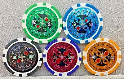 HOLOGRAPHIC ULTIMATE POKER - CASINO POKER CHIP GOLF BALL MARKERS - 12g, 39mm