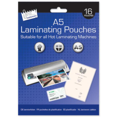 A5 Laminator Laminating Machine Pouch Pouches Sheets 16pcs 160 Micron Sleeve