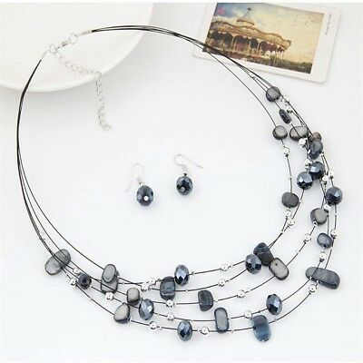 Women Wedding Fashion Crystal Jewelry Sets Necklace Earrings Set Multi Layer